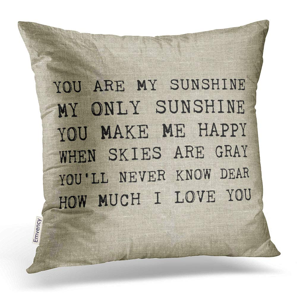Emvency Set of 4 Throw Pillow Covers You are My Sunshine Yellow Gray with Chevron Words Decorative Pillow Cases Home Decor Square 16x16 Inches Pillowcases
