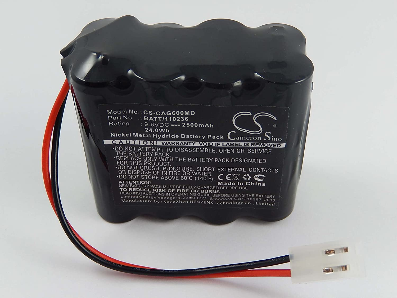 vhbw Batería NiMH 2500mAh (9.6V) para electrocardiógrafo ECG Cardiette AR600 ADV ECG Recorder, AR600ADV ECG Recorder como BATT/110236, 120236.