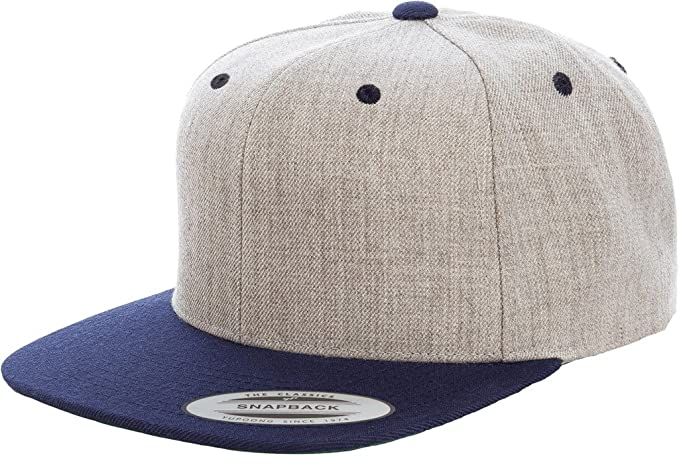 abba15684 Yupoong 6089M Classic Snapback Pro-Style Wool Cap by Flexfit (Heather/Navy)
