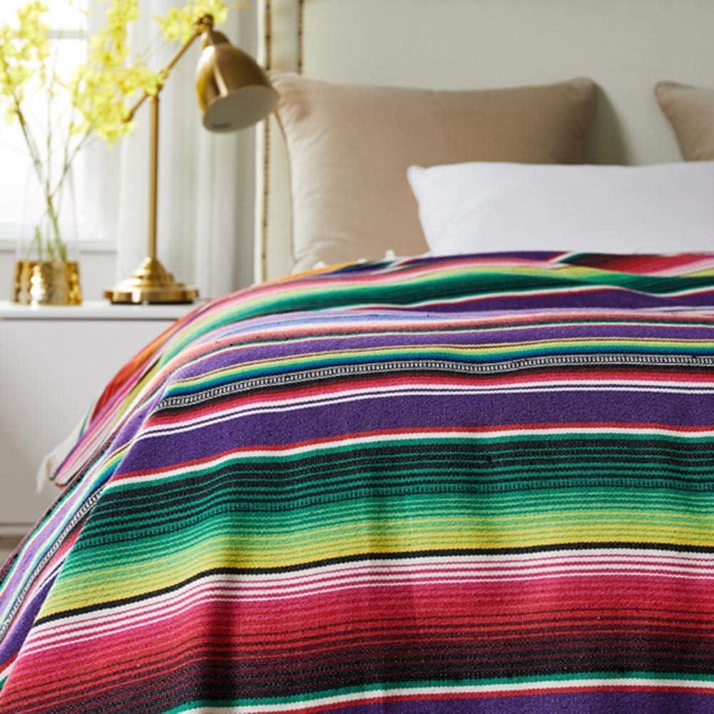 Jannyshop Ethnischen Stil Baumwolle Mexikanischen Indischen Handgefertigten Regenbogen Strand Decke Wandteppich Strand Picknick-Matte