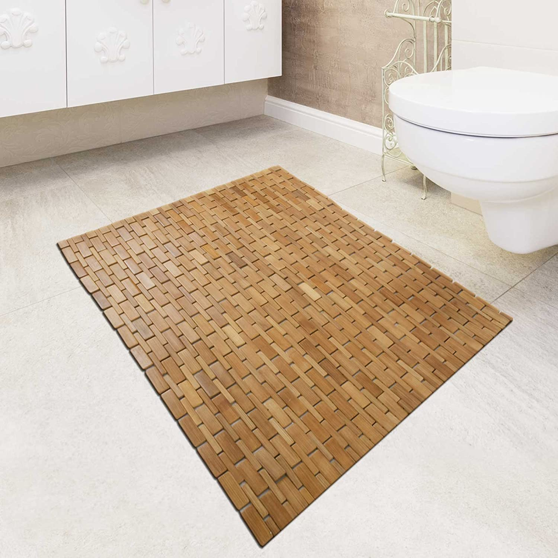 natural x deluxe bathtub shower inch mat bath floor bamboo