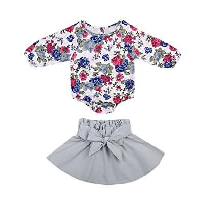 44f79e24ef680 Infant Baby Girls Long Sleeve Floral Print Romper Bowknot Winter Dress  Skirt Casual Outfit Set (
