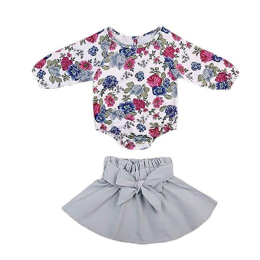 5d0488e9d Amazon.com  Infant Baby Girls Skirt Outfit Set Floral Romper ...