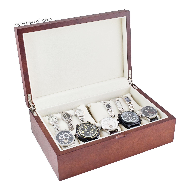 キャディベイコレクションWood Watch Case with Solid Top蓋、高クリアランスfor 10 + Large Watches B00A017OSU