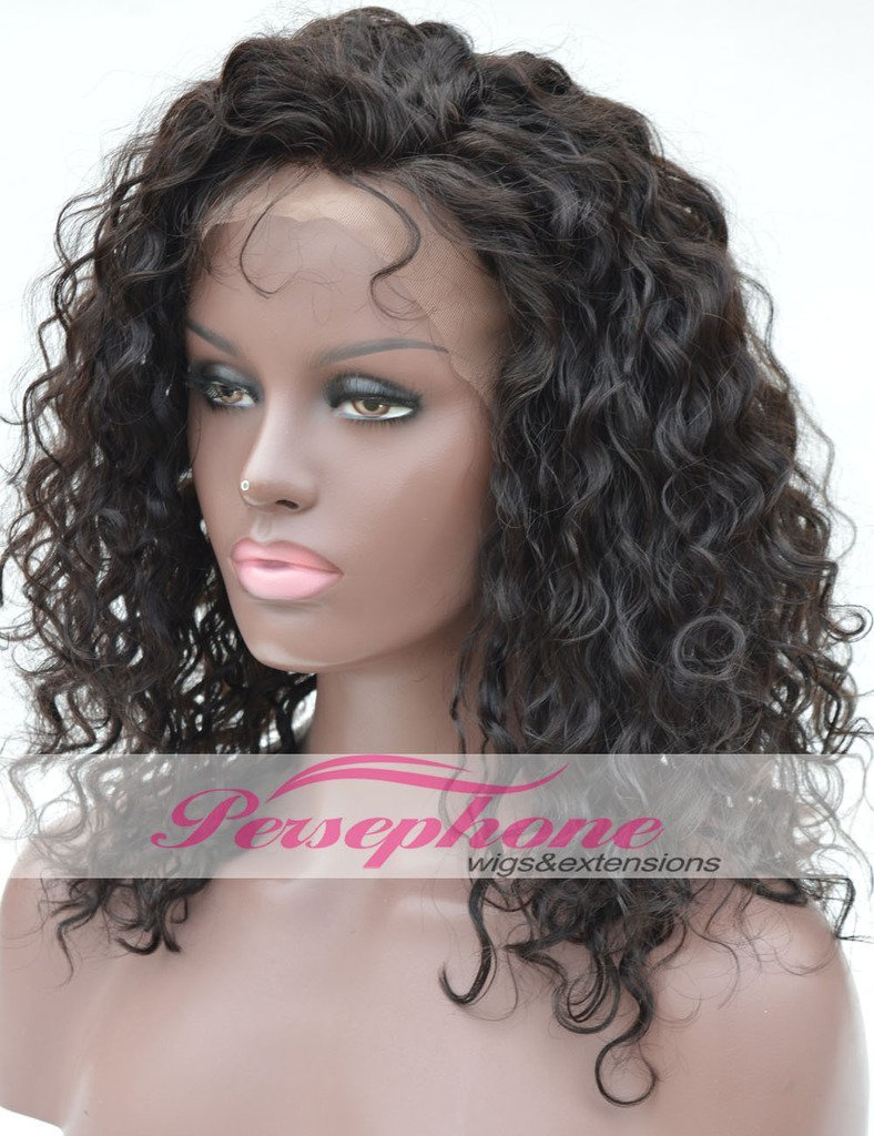 Natural Looking Curly Lace Front Human Hair Wigs For Black Women Brazilian Best Remy Hair Full Lace Front Wig African American With Baby Hair 150 Density 16 inches Natural Color