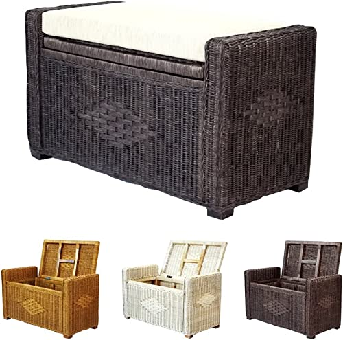 Bruno Handmade 32 Inch Rattan Wicker Chest Storage Trunk Organizer Ottoman W/Cushion Dark Brown