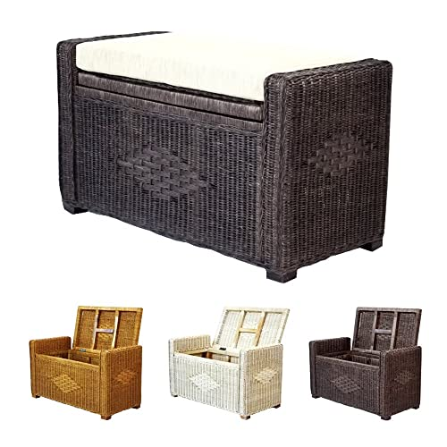 Bruno Handmade 32 Inch Rattan Wicker Chest Storage Trunk Organizer Ottoman W cushion Dark Brown