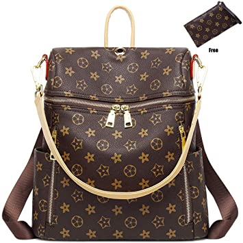 f4bb6dd3e5 Amazon.com  Casual Purse Fashion School Leather Backpack Crossbady Shoulder  Bag Mini Backpack for Women   Teenage Girls BLACK BROWN  FLYfreemdom