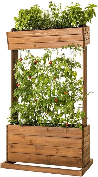Bancal Madera Macetero mesa Beet hierbas Valla de tomates pérgola con cuerdas 82 x 50 x 145 cm: Amazon.es: Jardín