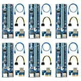 (6 pack) VER 009S PCI-E 6-Pin 1x to 16x Powered Riser Adapter Card PCE 164P with LED Mining Machine Enhanced Extender 60cm USB 3.0 Cable SATA 15 Pin-4Pin (2018 Latest)