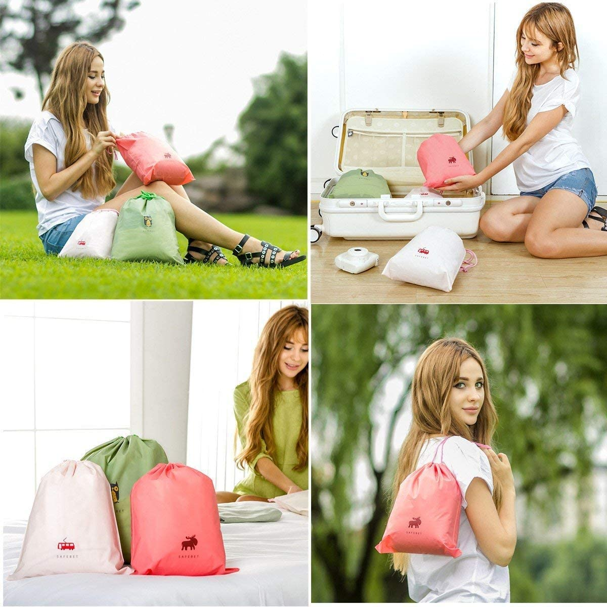 Creativee Waterproof Drawstring Bags,Storage Sack for Gym Sport Swim ,Travel Essential Clothes Packing Bag Laundry Toiletry Pouch