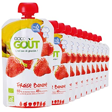 Good Goût - Bio - Purée de Fruits Fraise Banane - 10 gourdes de 120 g