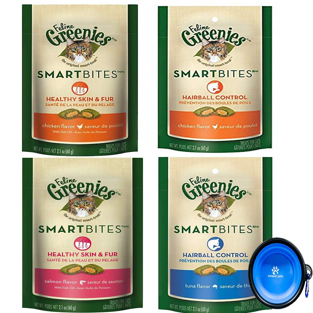 Greenies Feline SmartBites Treats for Cats Variety Bundle (4 Pack) Chicken, Tuna, Salmon Flavors (Hairball & Skin and Fur Control) with Hotspot Pets Collapsible Travel Bowl by Greenies