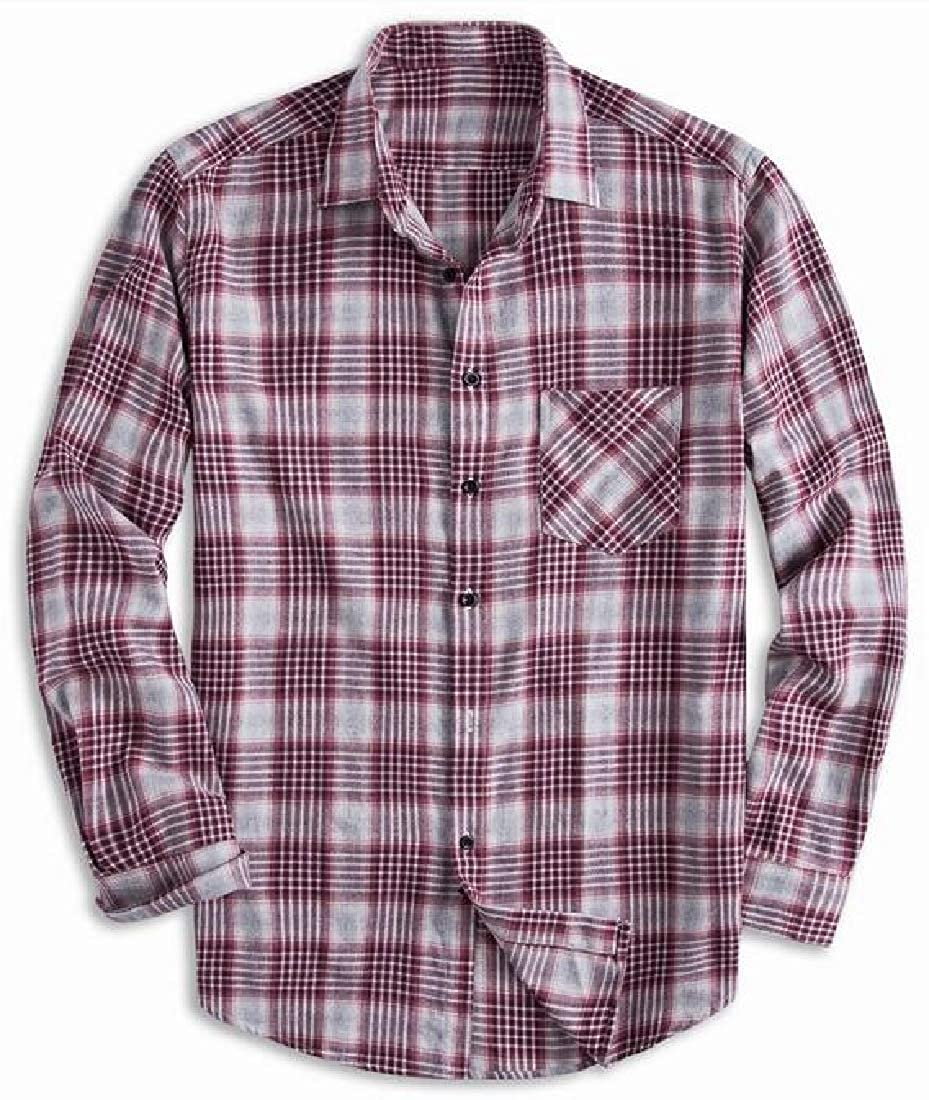 Jotebriyo Mens Button Up Casual Long Sleeve Plaid Print Plus Size Dress Work Shirt
