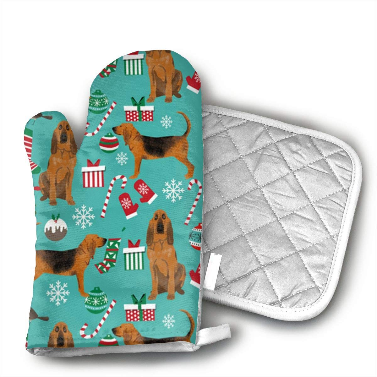 GRSTfsm Bloodhound Fabric and Xmas Oven Mitts,Kitchen Oven Glove Suitable for Baking, Grilling, Cooking, Barbecue