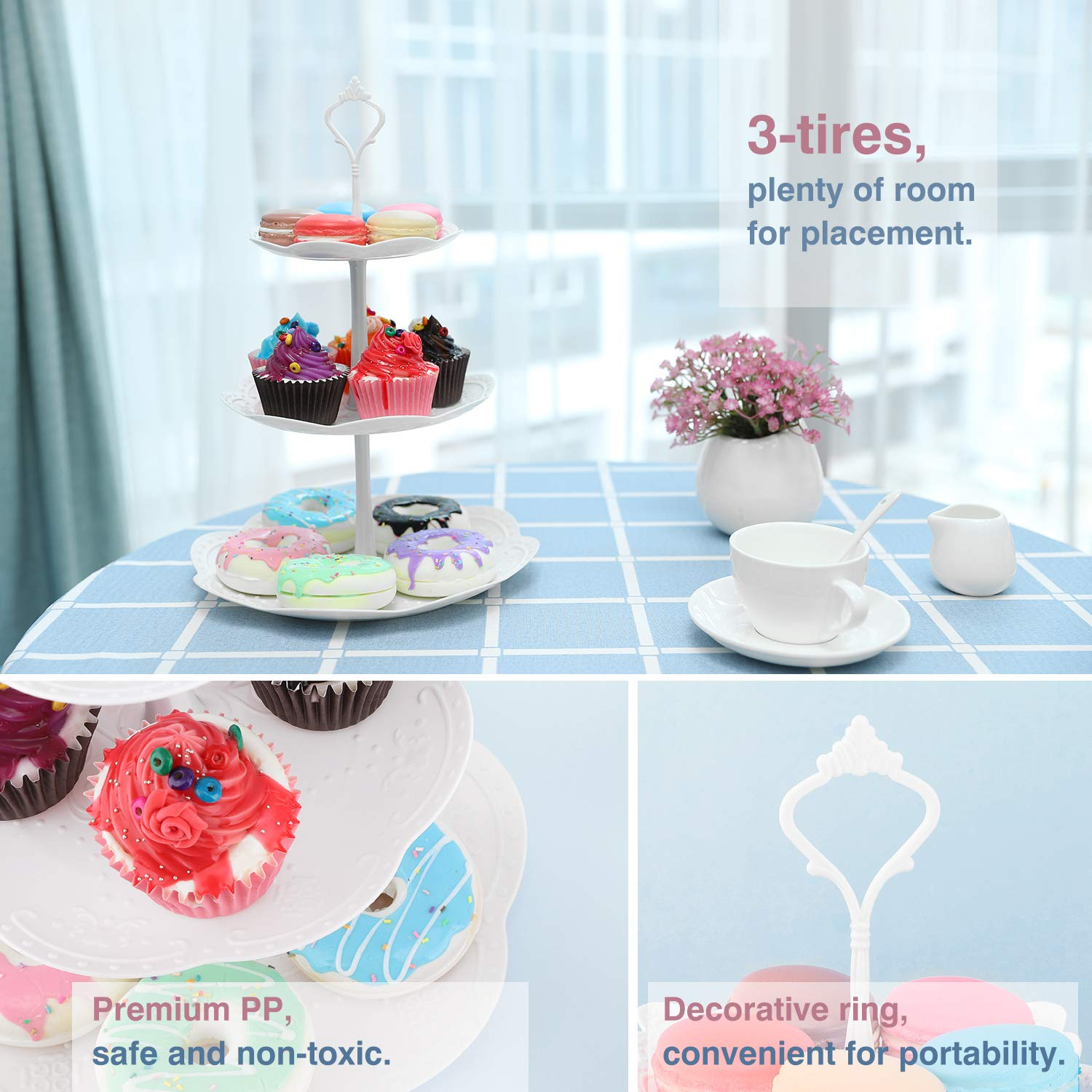 Fruit Desserts Cupcake Candy Buffet Plastic Round Plate Stand Serving Platter Display Tree Tower Stand for Wedding Home Birthday Festival Party Nuovoware 3-Tier Cake Stand White 3 Tier Round