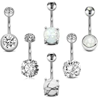 """MODRSA 14G Stainless Steel Belly Button Rings for Women Girls Navel Barbell Navel Piercing Jewelry 10mm 3/8"""" Silver Rose Gold"""