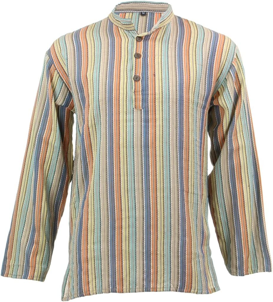 LOUDelephant con Textura algodón Kurta Grandad Camiseta de ...