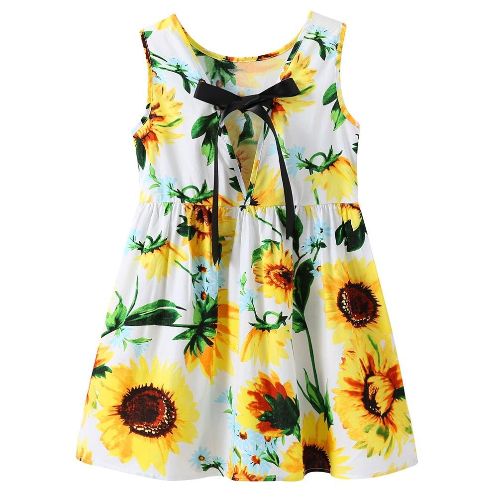 Chinatera Little Girls Sunflower Tutu Dress Toddler Girl One Piece Sleeveless Beachwear Outfit for Summer (Sunflower, 3-4T) by Chinatera (Image #2)