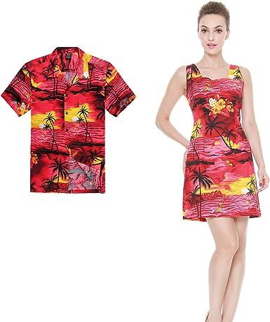 Pareja Matching Hawaiian Luau Outfit Aloha Camisa y Vestido de Tanque en Puesta de Sol roja