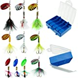 FouceClaus Fishing Lures 10pcs Spinner Lures Baits Tackle Box, Bass Trout Salmon Hard Metal Rooster Tail Fishing Lures Kit