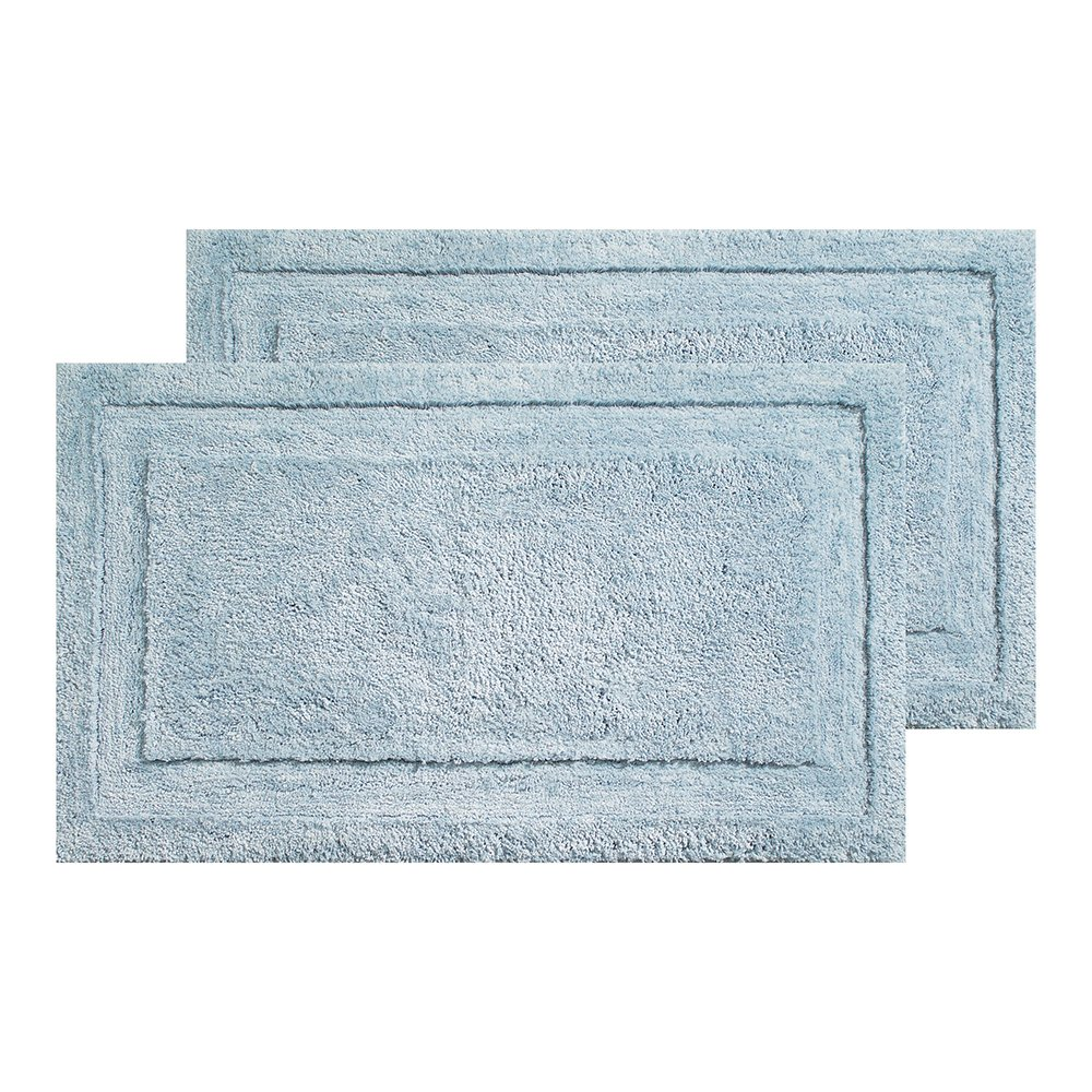 InterDesign Microfiber Bathroom Shower Accent Pack of 2, Water Spa Rug 34 x 21 M2, Set of 2, 2 Piece