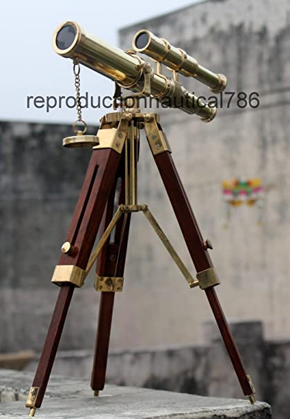 Marine Spyglass Vintage Nautical Brass Telescope Scope With Wooden Stand Decor. Maritime Telescopes
