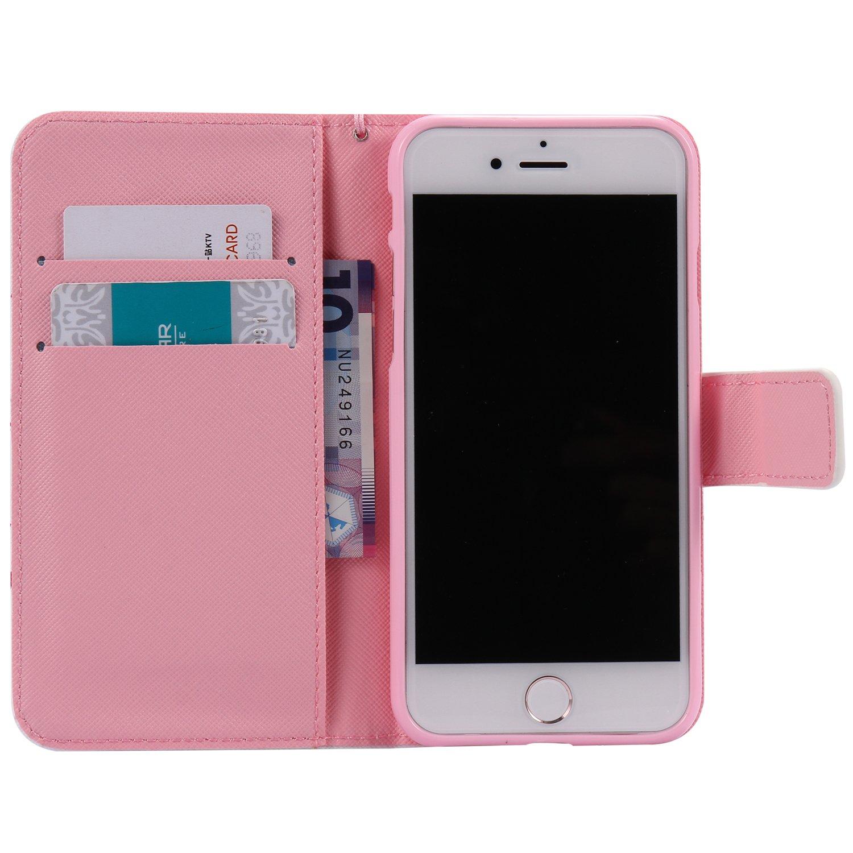 iPhone 7 Coque A-09 Supporter Flip PU Cuir Pochette Portefeuille Housse Coque Etui pour Apple iPhone 7 avec Crédit Carte Tenant Fente Dooki
