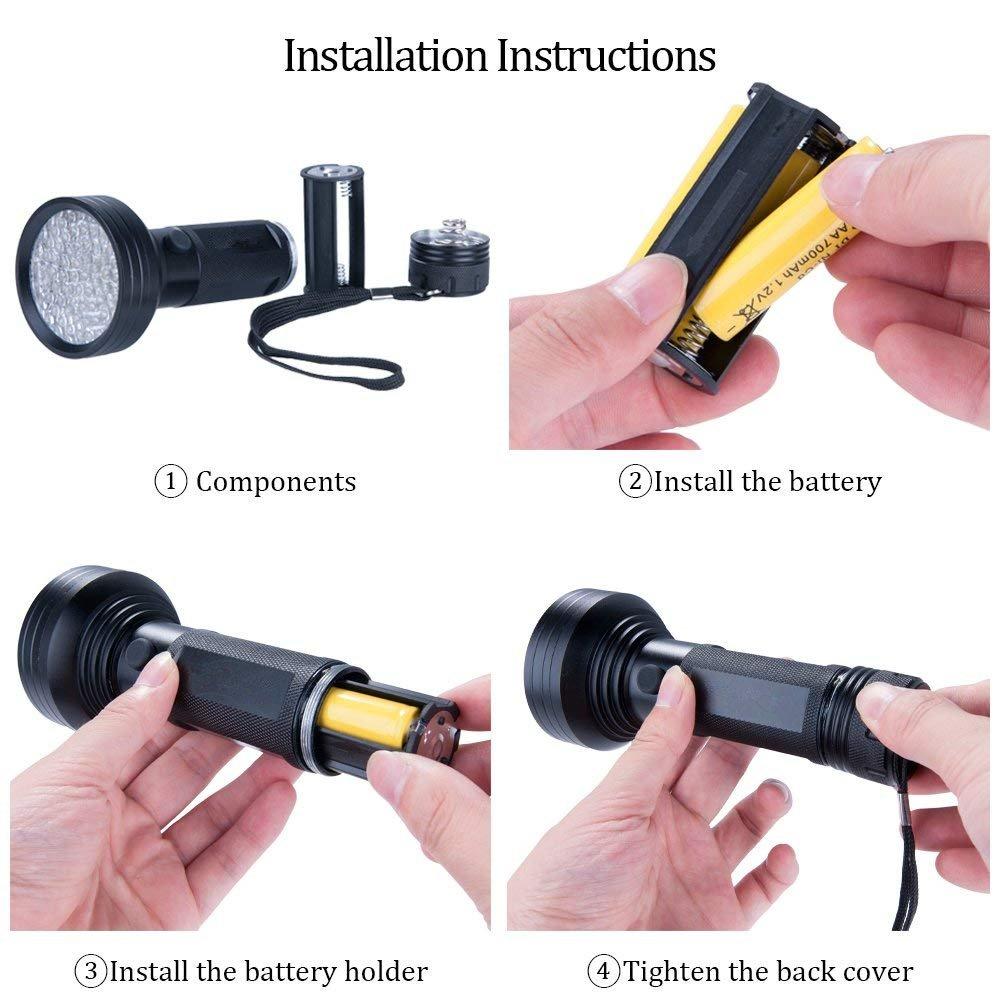 Black Light UV Flashlight WJZXTEK 68 LED Best Powerful Black Light Flashlight Ultraviolet Urine Detector Flashlight for Home Hotel Inspection Pet Urine Stain Detection Supply