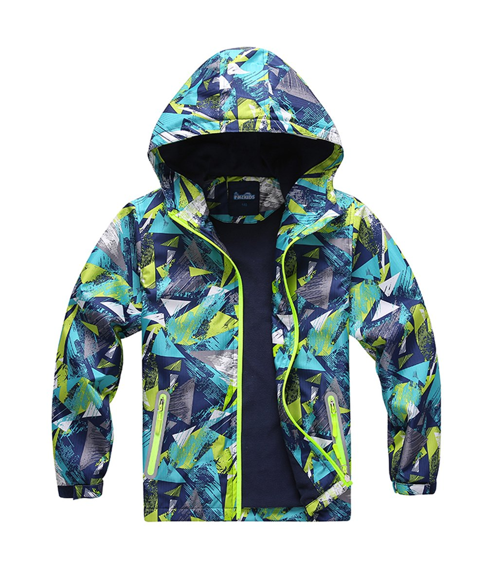 M2C Boys Outdoor Color Block Fleece Lining Windproof Jacket with Hood 6/7 Turquoise