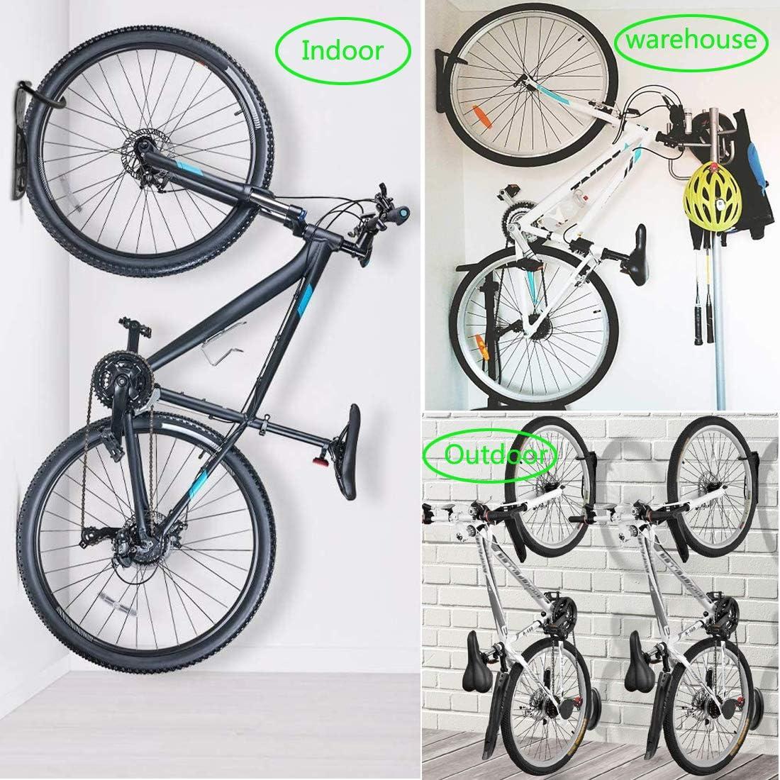 para Colgar o Exponer Bicicletas Soportes de Pared para Bicicleta Set de 2 Gancho para Colgar Bicicleta de Acero Bastidores para Bicicletas Ganchos para Bicicleta con Tornillos y Toalla de Limpieza