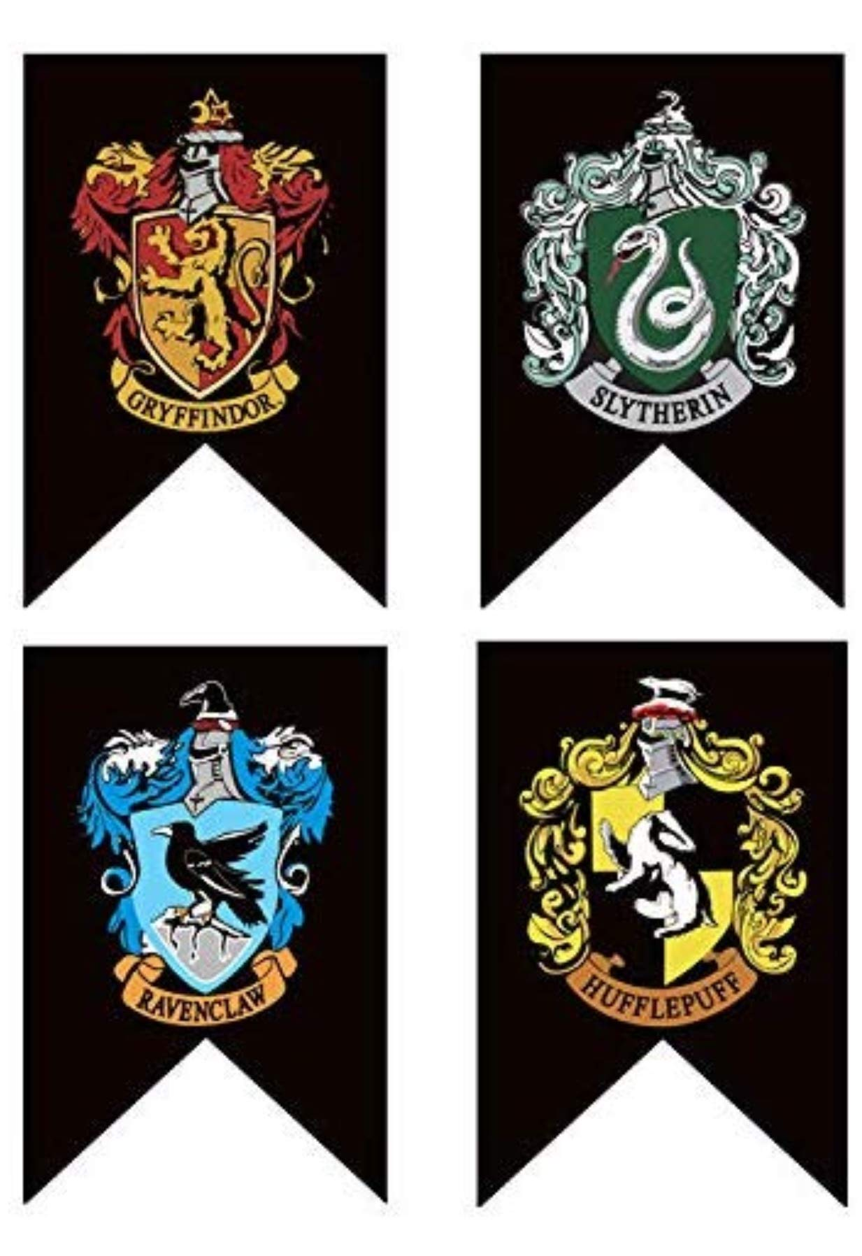 Harry Potter Banner - Complete Hogwarts House Wall Banner-Ultra Premium - Indoor Outdoor Party Flag - Gryffindor, Slytherin, Hufflepuff, Ravenclaw Banner Set (4PACK)