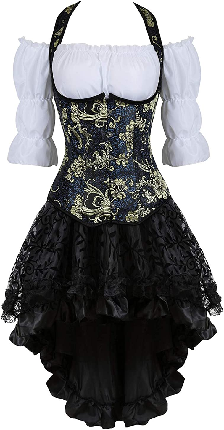 Grebrafan Steampunk Corset Dress 5 Piece Outfits Bustiers with Skirt and  Blouse