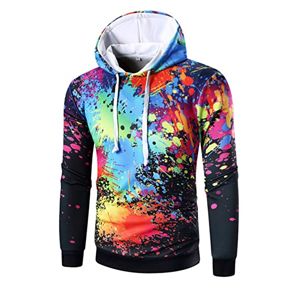 Amazon.com: Matterin Christiao New Spring Autumn Gradient Hoodie Multicolor Sweatshirts Mens Hooded Pullovers 3D Inks Printed Tops: Clothing