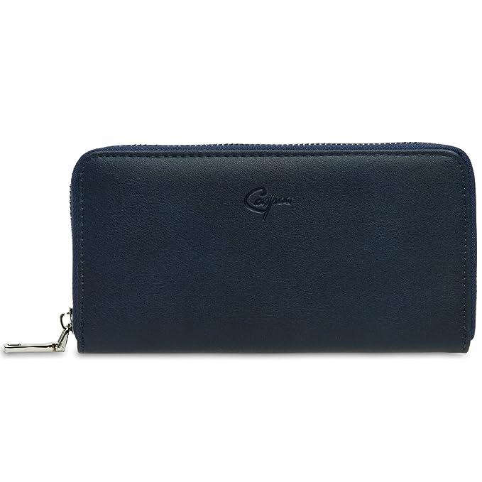 CASPAR GB413 Monedero Largo de Mujer Cartera Grande con Cremallera, Color:azul oscuro;Tamaño:Talla Única: Amazon.es: Ropa y accesorios