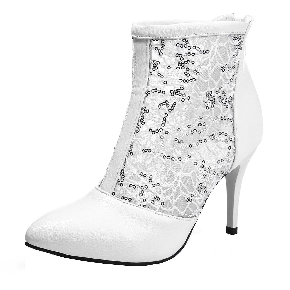 AIYOUMEI Damen Spitz Stiletto High Heels Herbst Stiefeletten mit Spitze Pumps Schuhe  39.5 EU|Wei?