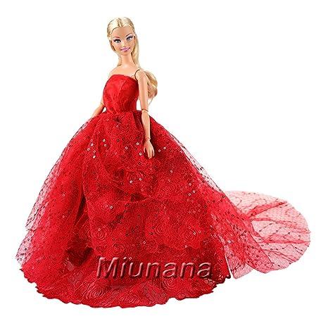 d0a6e84f6eff Miunana Vestito Di Lusso Lungo Con Paillettes Per Bambola Barbie Dolls -  Rosso