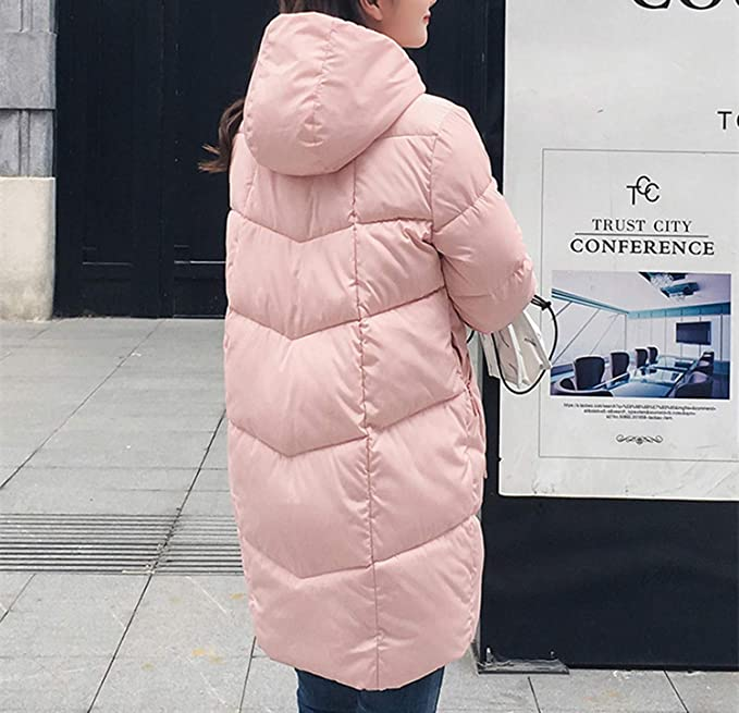 Amazon.com: Thick Hooded Long Down Parkas Women Down Jacket Winter Coat Cotton Padded Coat: Clothing