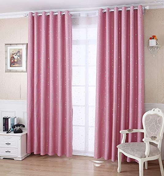 AiFish Grommet Shiny Star Smei Blackout Curtains Panels 2 Panels Set Room Darkening Window Treatment Drapes Thermal Insulating Curtains for Bedroom Living Room Set of 2 Pcs Pink W75 x L96 inch