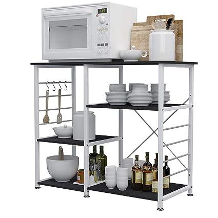 sogesfurniture Scaffale per Cucina in Acciaio Legno, 3 Ripiani Baker\'s Rack  Supporto per Forno a microonde Storage Organizer, Nero 171-BK-BH