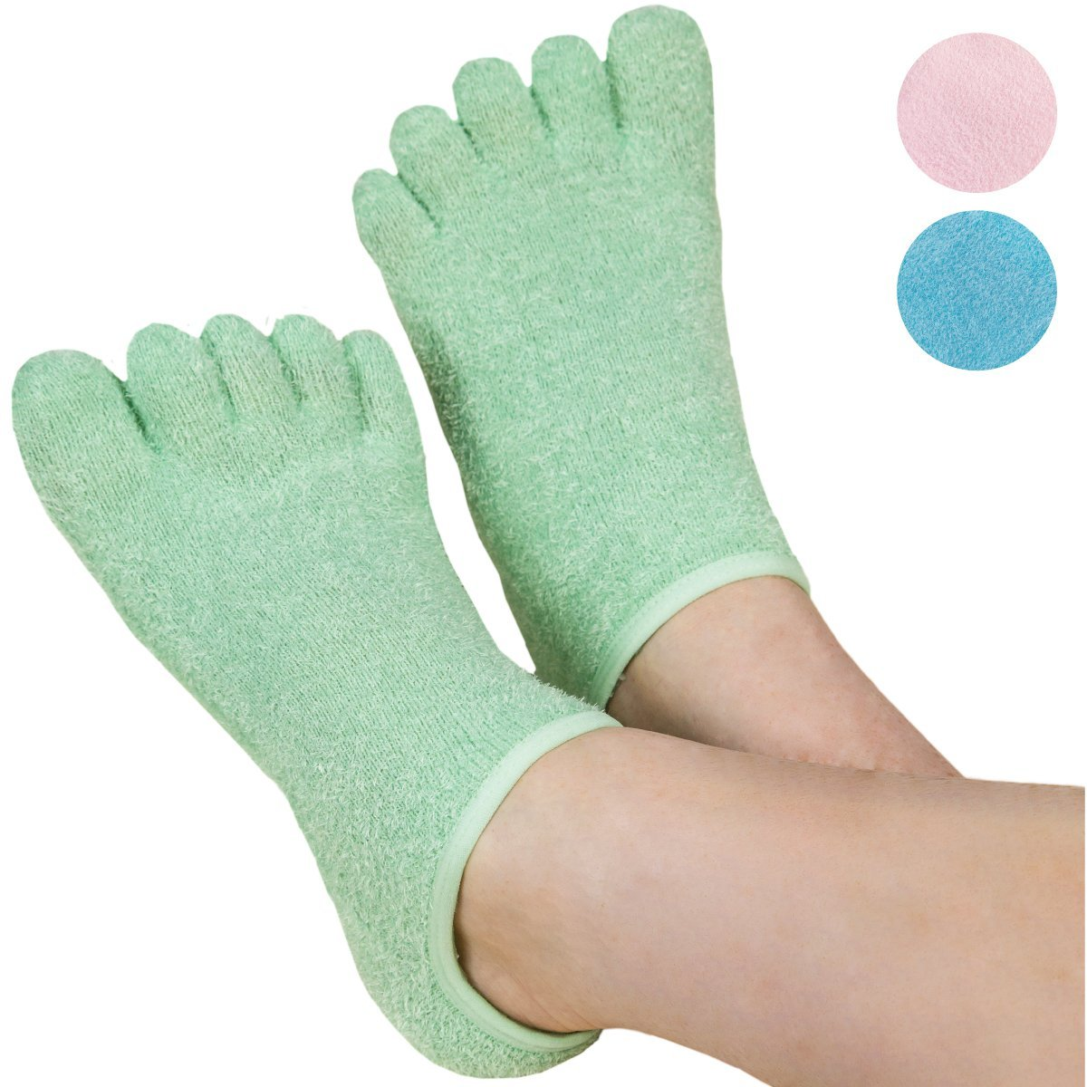 LE EMILIE 5 Toe Moisturizing Gel Socks | Perfect for Healing Dry Cracked Heels and Feet | Infused with an Aromatherapy Blend of Lavender and Jojoba Oil | 1 Pair, Seafoam Green