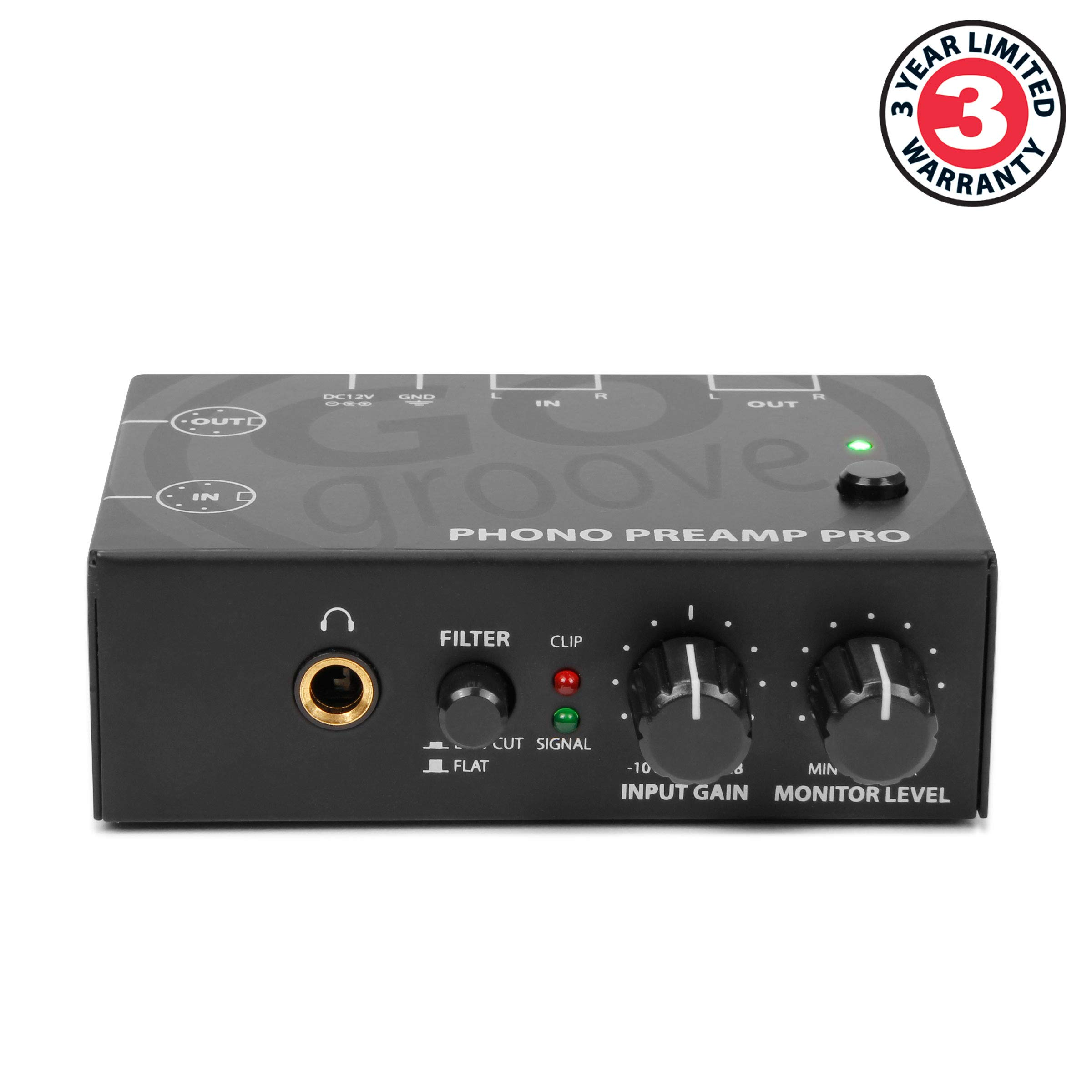GOgroove Phono Preamp Pro Preamplifier with RCA Input/Output, DIN Connection, RIAA Equalization, 12V AC Adapter - Compatible with Vinyl Record Players, Turntables, Stereos, DJ Mixers by GOgroove (Image #2)