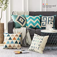 AEROHAVEN™ Set of 5 Cotton Abstract Designer Decorative Throw Pillow/Cushion Covers - 16 x 16 inches