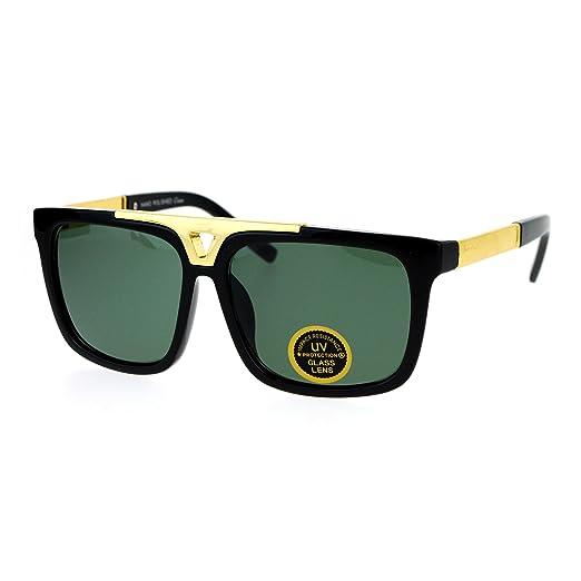 9659b794ebc Amazon.com  SA106 Mens Tempered Glass Lens Mobster Mafia Flat Top Luxury  Gangster Sunglasses Black  Clothing