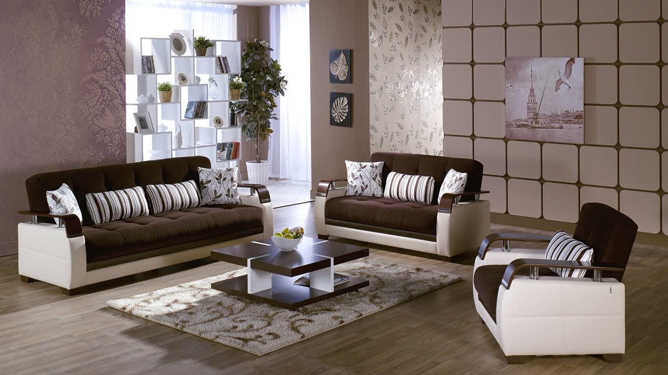Istikbal Natural 2 PC Colins Brown Sofa Set 3 Seat Sleeper and Loveseat