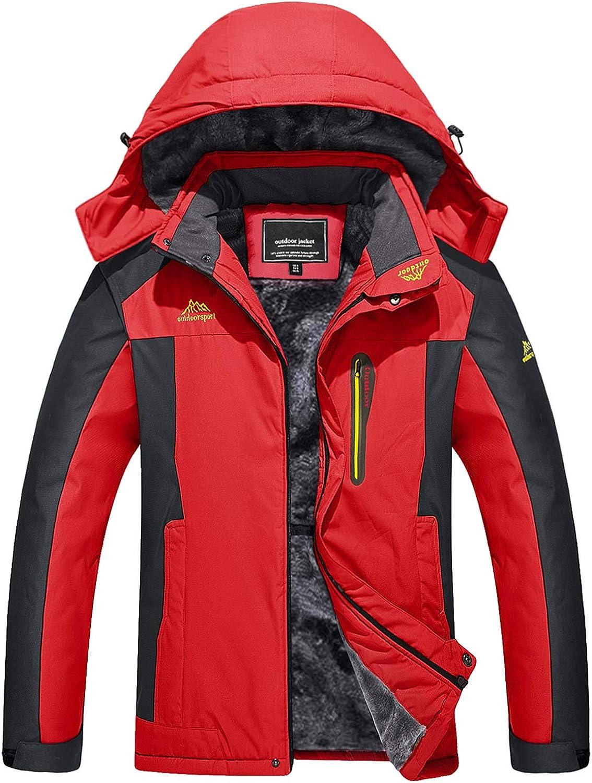 TACVASEN Men's Outdoor Jackets Winter Waterproof Windproof Ski Snowboard Fleece Lined Jacket Hooded: Clothing