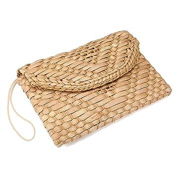 Monedero de embrague de paja, JOSEKO Bolso del sobre del bolso del embrague del mitón de las mujeres Bolso grande de la playa del verano de la cartera: ...