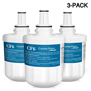 DA29-00003G Replacement Samsung Refrigerator Water Filter, Compatible with Samsung Aqua-Pure Plus,DA29-00003B, DA29-00003A, HAFCU1, WSS-1 by Crystala Filters (3 Pack)