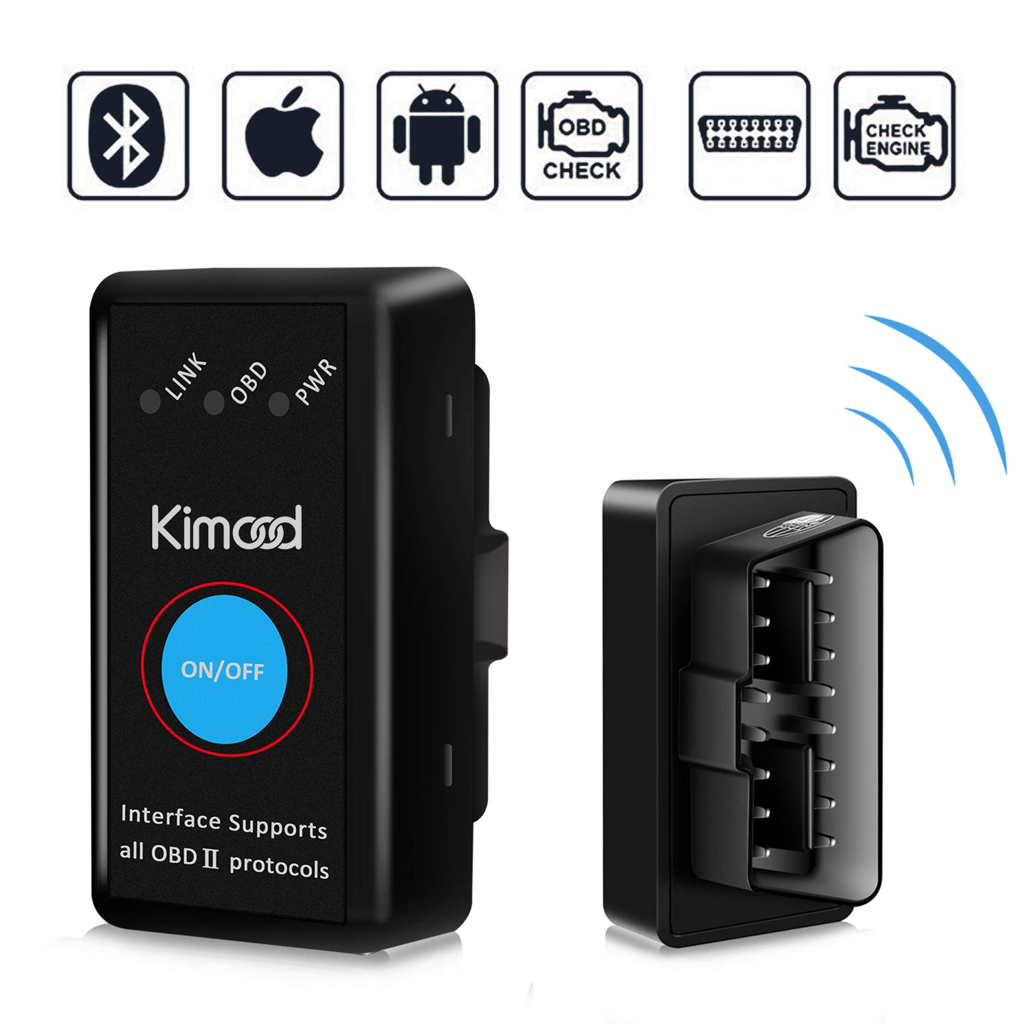 OBD2 Bluetooth 4.0 Kimood 2018 Nueva Versión Auto Diagnostico de Coche OBD2 Diagnosticos, Mini adaptador