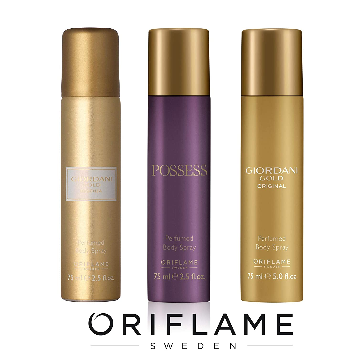 Buy Oriflame Sweden Possess Perfumed Body Spray Essenza Giordani Original White And Gold Set Of 3pc Online At Low